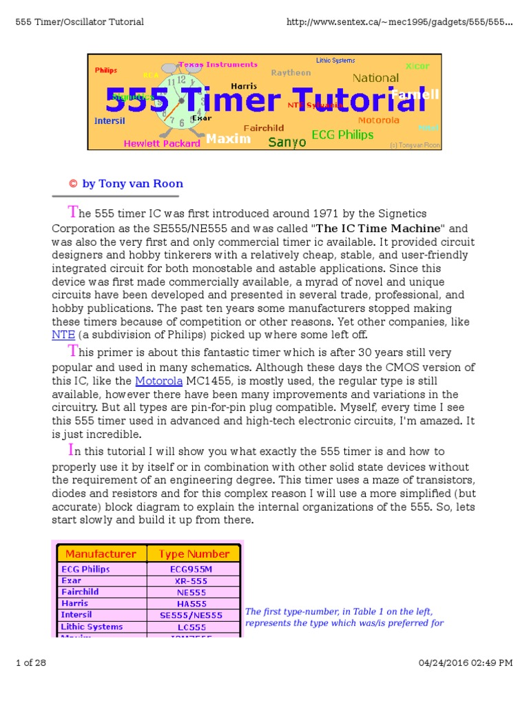 555 Timer Oscillator Tutorial Capacitor Electrical Circuits