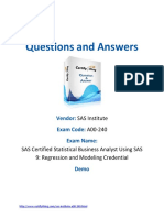 188513867 SAS Certified Statistical Business Analyst Using SAS 9 Regression and Modeling Credential
