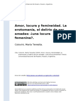 Colovini, Maria Teresita (2004). Amor, Locura y Femineidad. La Erotomania, El Delirio de Ser Amadas Una Locura Femeninao