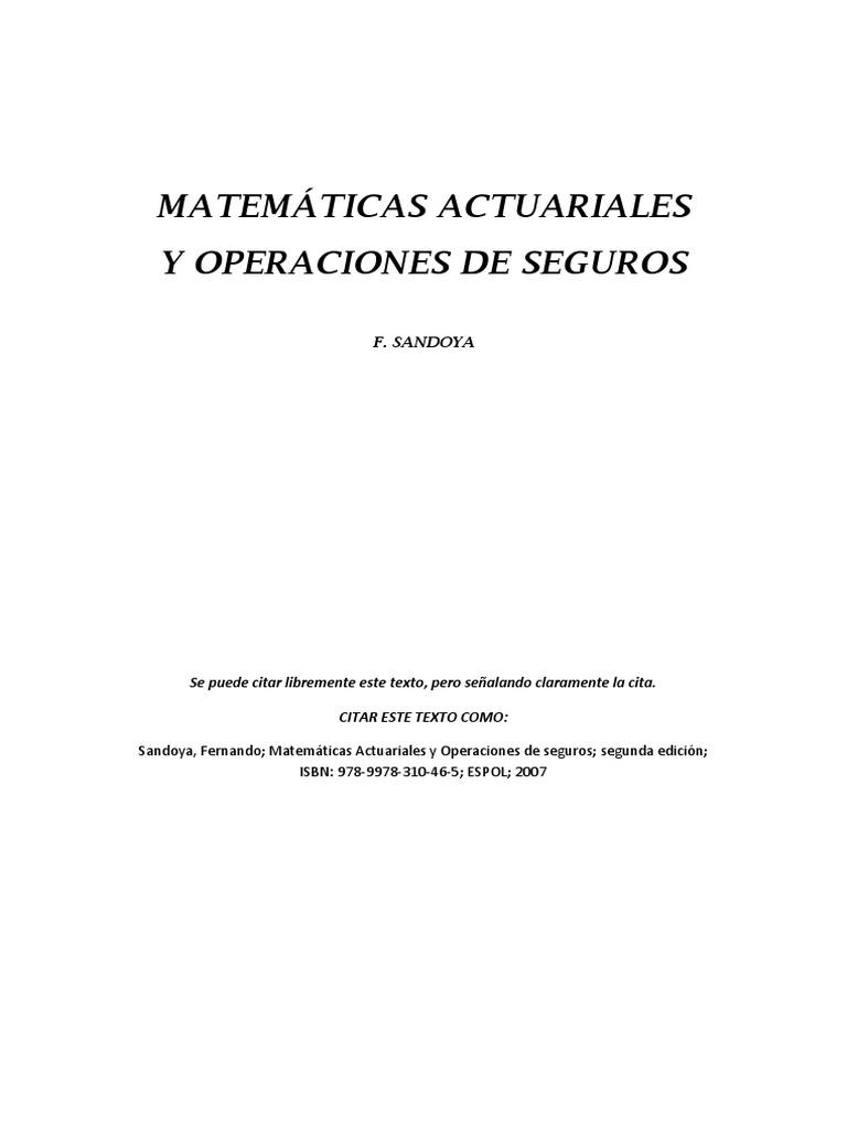 Matematicas Actuariales de vida