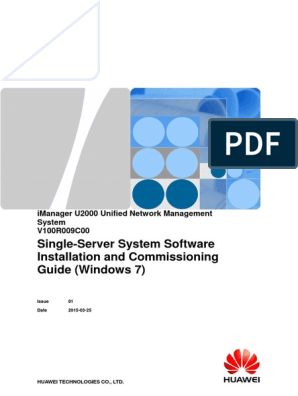 IManager U2000 Single-Server System Software Installation and