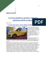 Correos Pondrá a Prueba Vehículos Eléctricos BYD en Brasil
