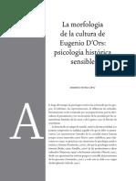 La Morfologia de La Cultura de Eugenio d'Ors Una Psicologia Historica Sensible