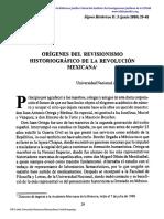 Orígenes Del Revisionismo de La Revolución Mexicana