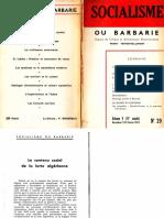 Socialisme ou barbarie 29 décembre-février 1960