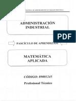 Manual 89001245 Matemática Aplicada Administradores Industriales