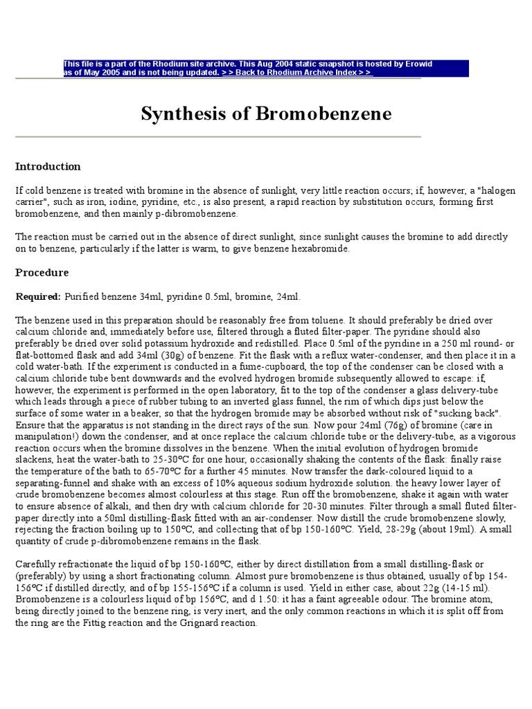BROMOBENZENE SYNTESIS | Pyridine | Distillation