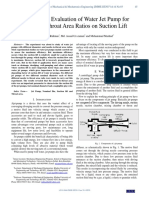 Performance Evaluation of Water Jet Pump for Nozzle to Throat Area Ratios on Suction Lift