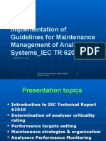 Implementation of IEC TR 62010_Guidelines for Maintenance Management of Analyser Systems