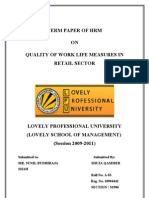 Hrm Term Paper ON QUALITY OF WORK LIFE MEASURES IN RETAIL SECTOR