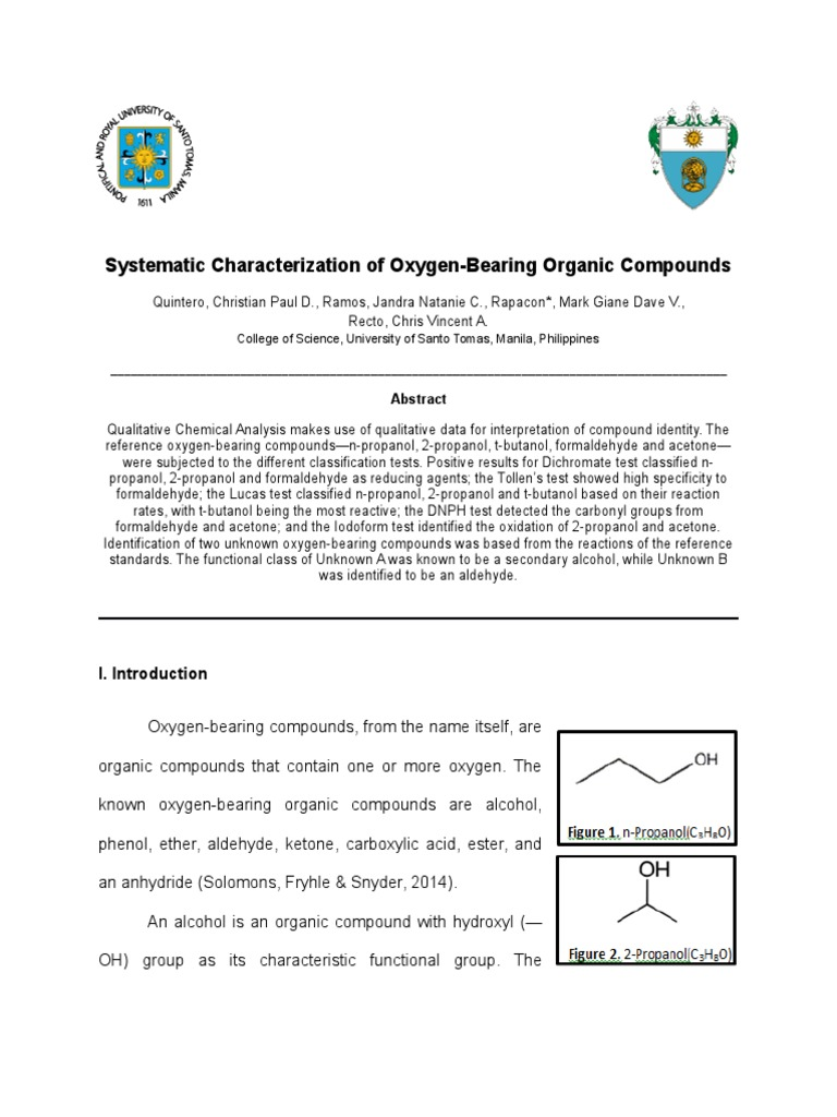 formal report on analysis of oxygen bearing organic compounds This research paper functional group analysis: carbonyl compounds report this essay analysis of oxygen-bearing organic compounds.