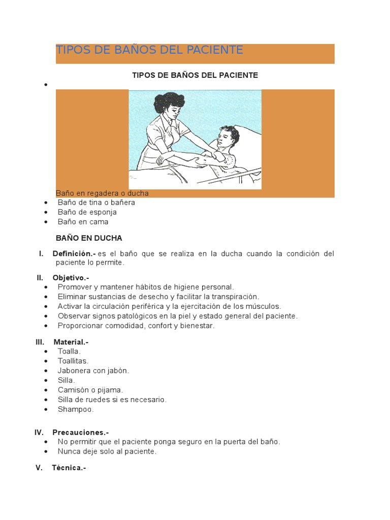Tipos de ba os del paciente for Tipos de banos