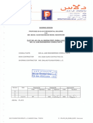 SHORING DESIGN & CALCULATION pdf