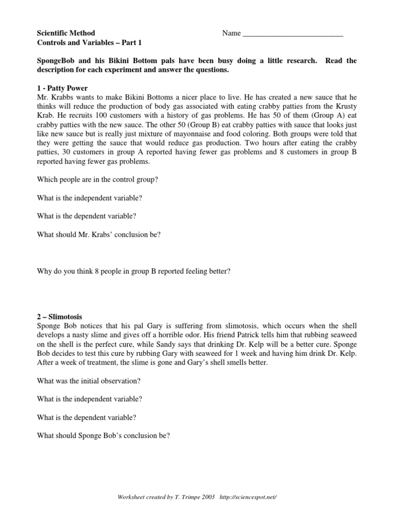 worksheet Spongebob Scientific Method Worksheet Answers spongebob scientific method experiment wellness