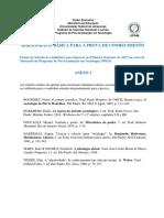 Edital de Seleção 2017 - Bibliografia Básica - Programa de Pós-graduação Em Sociologia (Ppgs)