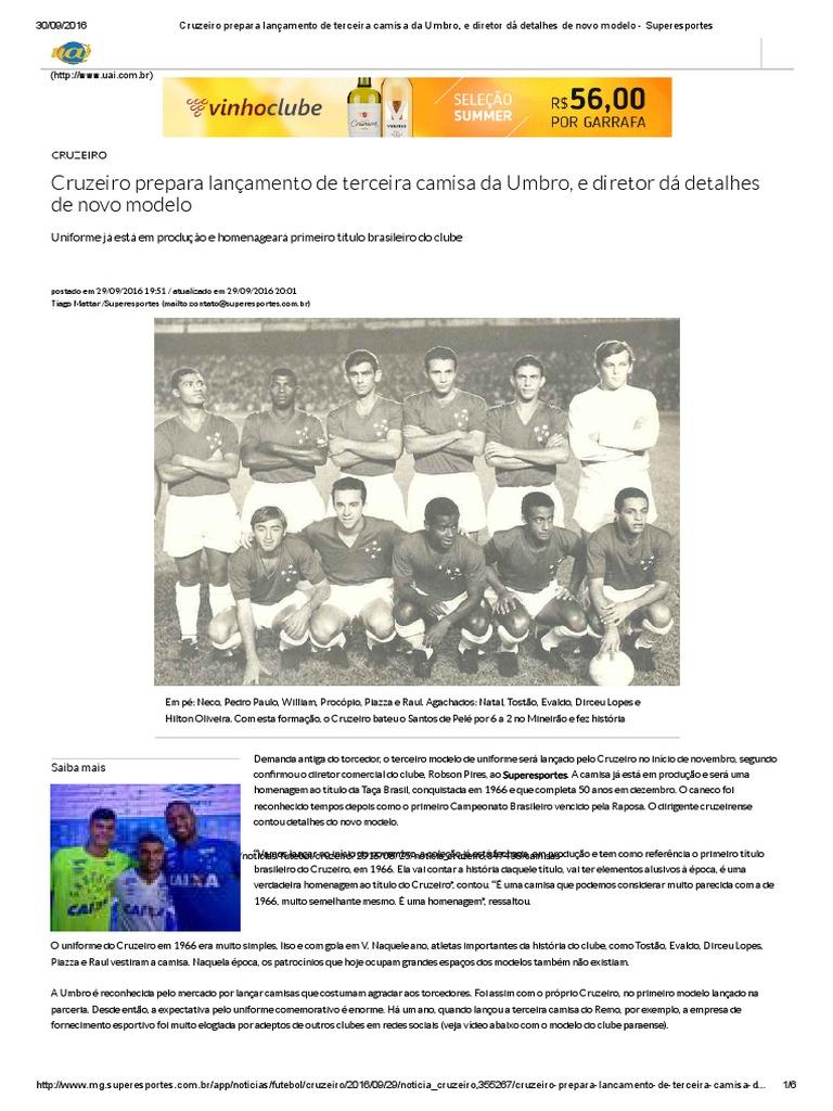 Cruzeiro Prepara Lançamento de Terceira Camisa Da Umbro a8a912970198f