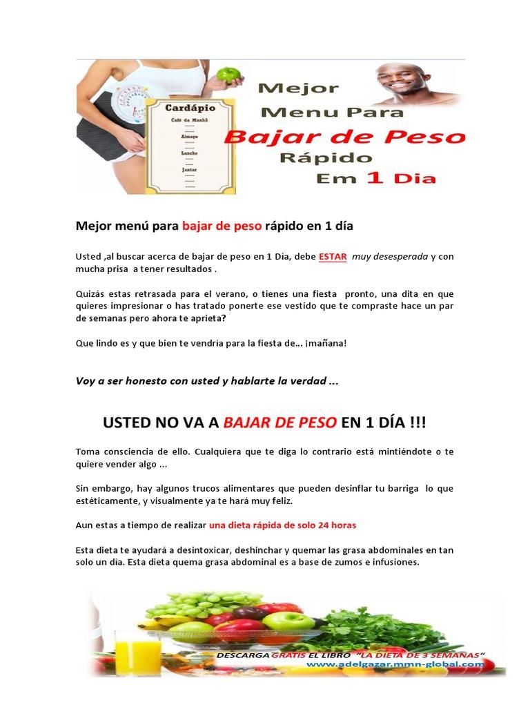 dieta para bajar de peso rapido en 1 dia