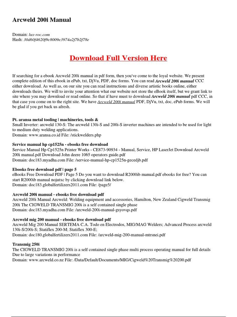 Arcweld 200i manual e books portable document format fandeluxe Choice Image