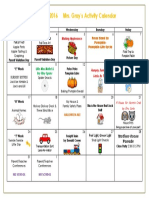 October 2016 Activity Calendar