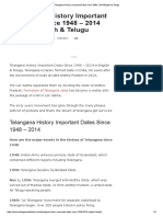 Telangana History Important Dates Since 1948 - 2014 English & Telugu