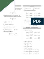 MSU MTH 133 Formula Sheet