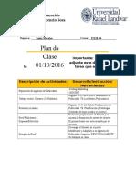 Plan de Clase 01102016