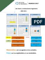 Calendario Ingreso 2017 Ingenieria Final