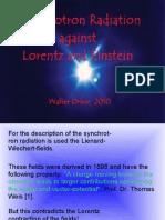 Synchrotron radiation against Lorentz and Einstein