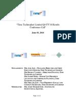 Timetechnoplast Investor Call Transcipt Q4FY16& FY16