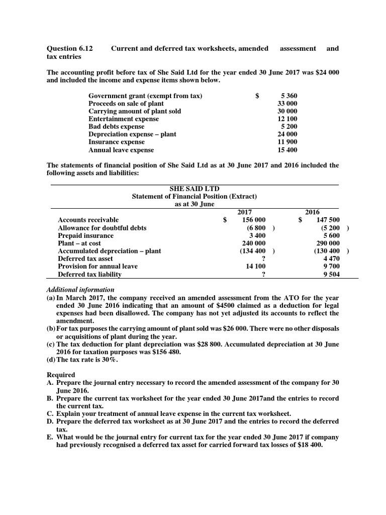 Workshop 6 SOL Additional Question Deferred Tax – Tax Worksheets