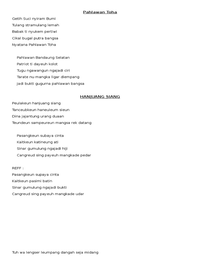 Lirik lagu pahlawan toha dan hanjuang siang stopboris Gallery