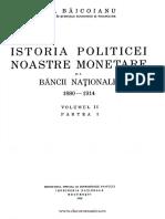 Istoria Politicii Noastre Monetare Şi a Băncii Naţionale. Volumul 2 1880-1914