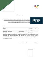 Declaracion Jurada de Estar o No Laborando Como Docente Formato 6 (1)