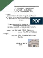 2009 APLICACIÓN DE LA DIRECCIÓN INTEGRADA DE PROYECTO AL CONTROL DE LA EJECUCIÓN FINANCIERA DEL PROYECTO.pdf
