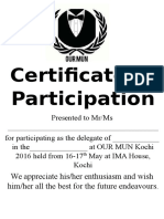 OUR MUN Kochi Certificates