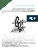 La Historia de La Máquina de Coser