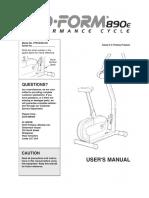 ProForm 890 E de bicicletas _ Manual de Inglés.pdf