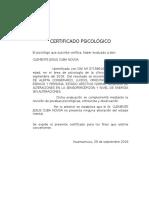 Certificado Psicológico - Buena Salud Mental