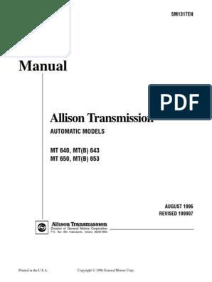 MT 600 Service Manual SM1317 199907 | Automatic Transmission