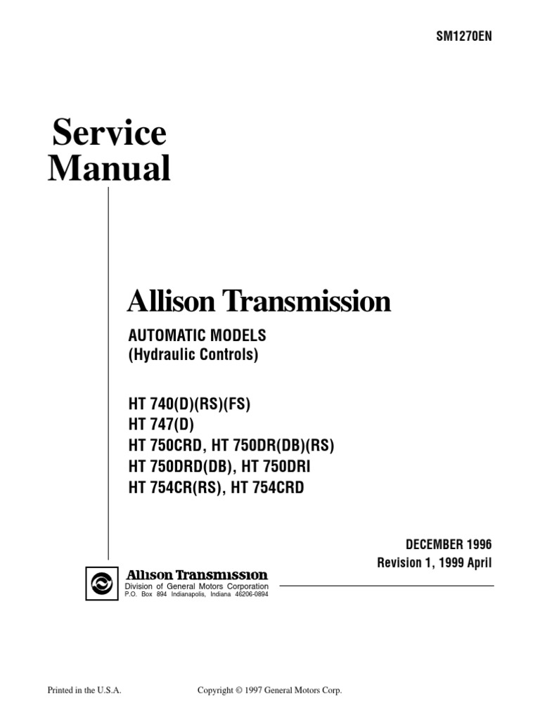 HT 700 Hydr Service Manual SM1270 199904 | Transmission