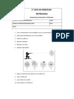 2° Lista de Exercícios - Metrologia