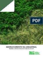 IPAM. Desmatamento Na Amazônia Medidas e Efeit