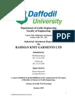 Industrial Attachment on Rahman Knit Garments Ltd
