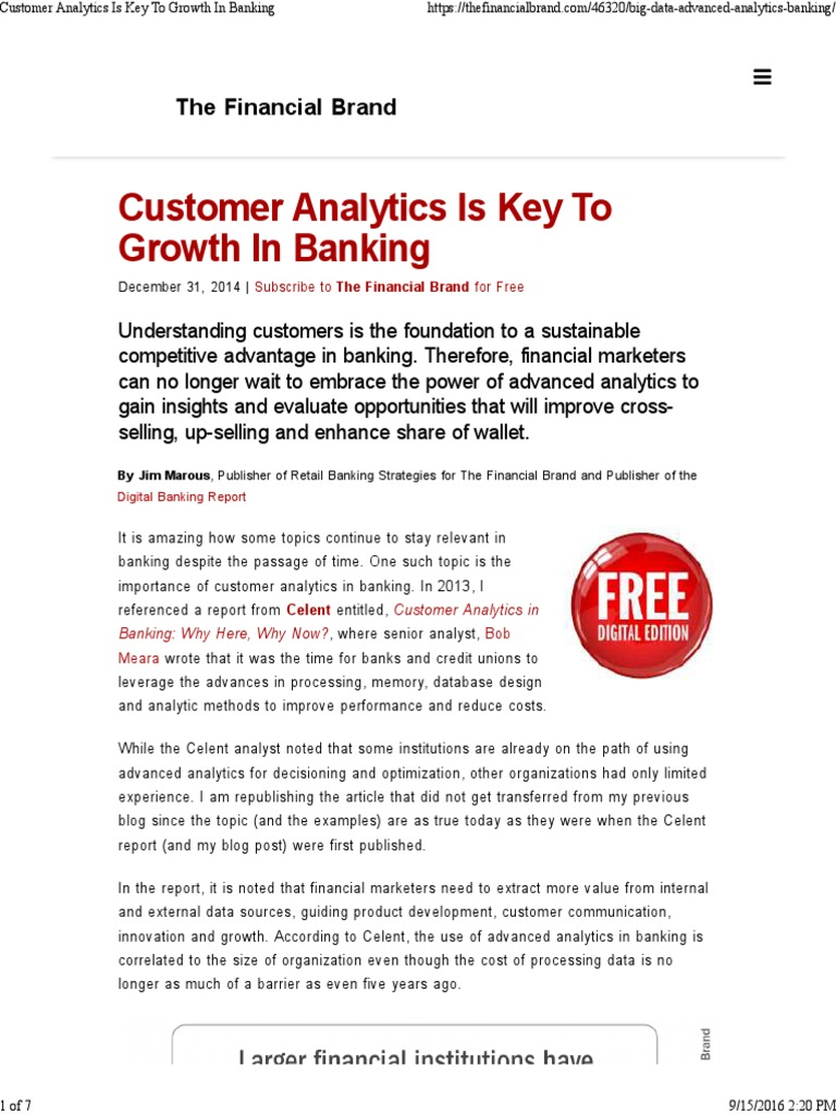Customer Analytics is Key to Growth in Banking | Analytics