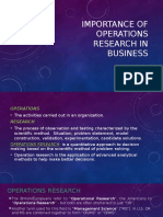 Importance of Operations Research in Business