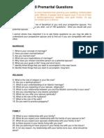 100 Premarital Questions
