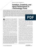Market Orientation, Creativity, And New Product Performance in High-Technology Firms