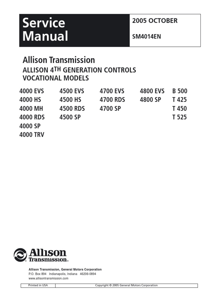 4k service manual 4th gen sm4014en 200510 transmission mechanics rh scribd com allison 4500 rds service manual allison 3000 rds service manual
