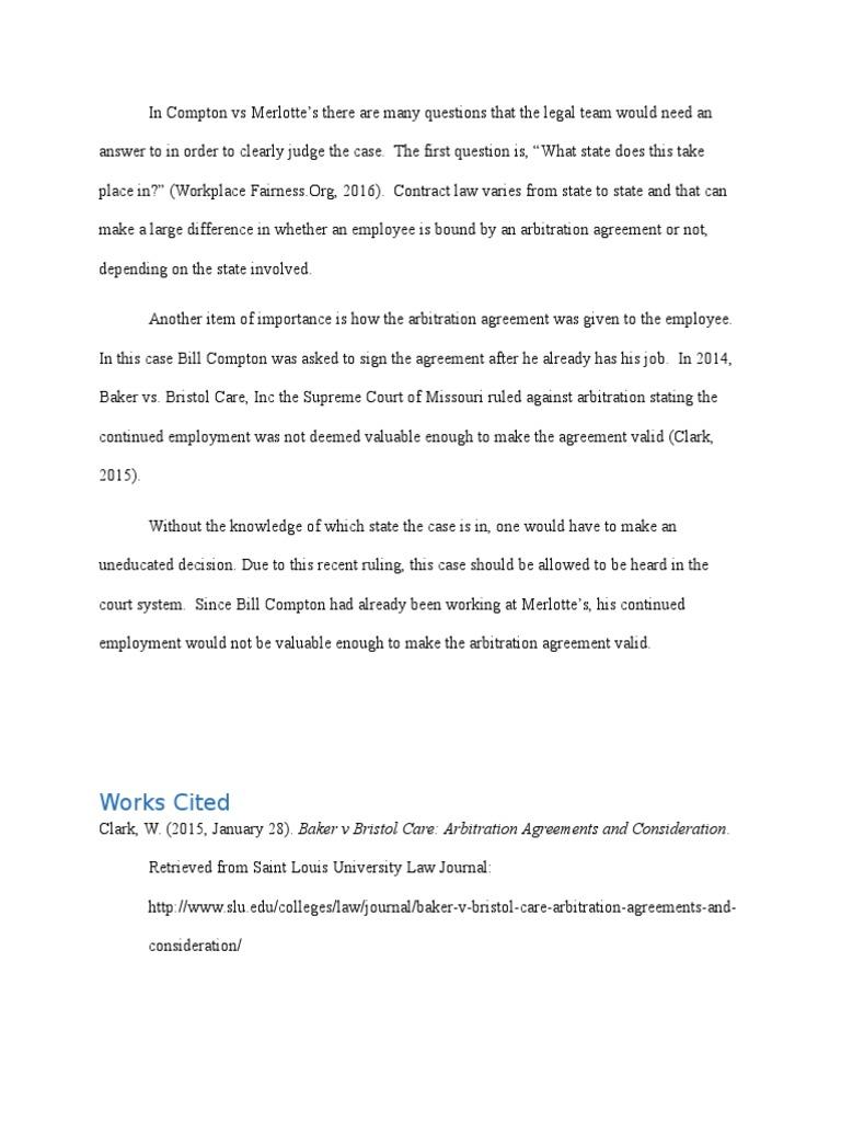 Compton Merlotte Arbitration Consideration