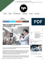 Kerja Di Bagian Research & Development Yuk! - HAI Online